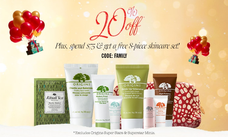 Receive a free 8-piece bonus gift with your $75 Origins purchase